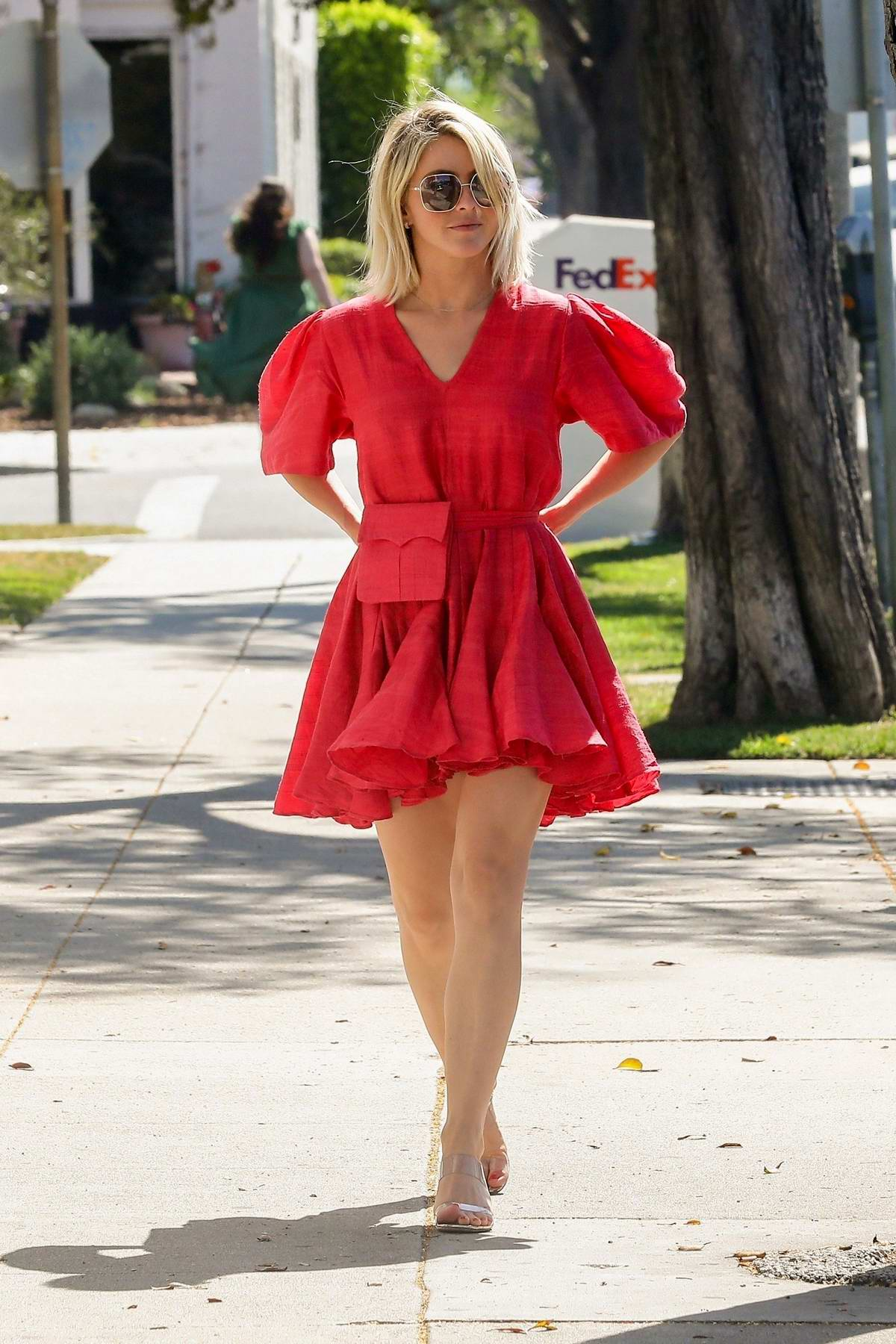 Julianne Hough looks stunning in red while visiting a talent agency in Beverly Hills, Los Angeles