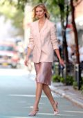 Karlie Kloss looks stylish in an all-pink ensemble by Express while out in New York City