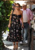 Katharine McPhee wears a floral summer dress while out for lunch at Il Pastaio in Beverly Hills, Los Angeles