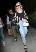 Kathryn Newton and Brandon Thomas Lee have a romantic dinner date at Spago restaurant in Beverly Hills, Los Angeles