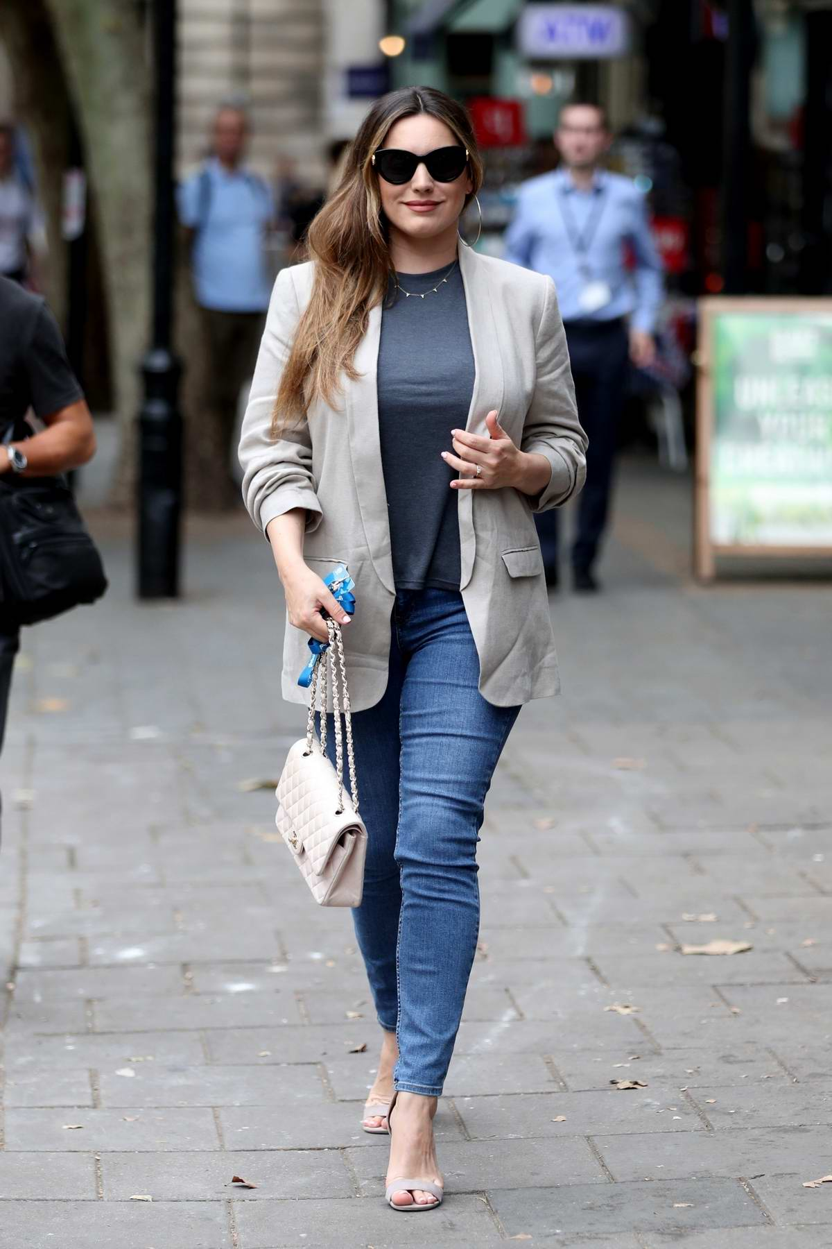 Kelly Brook looks chic in a blazer as she arrives at Global Offices in London, UK