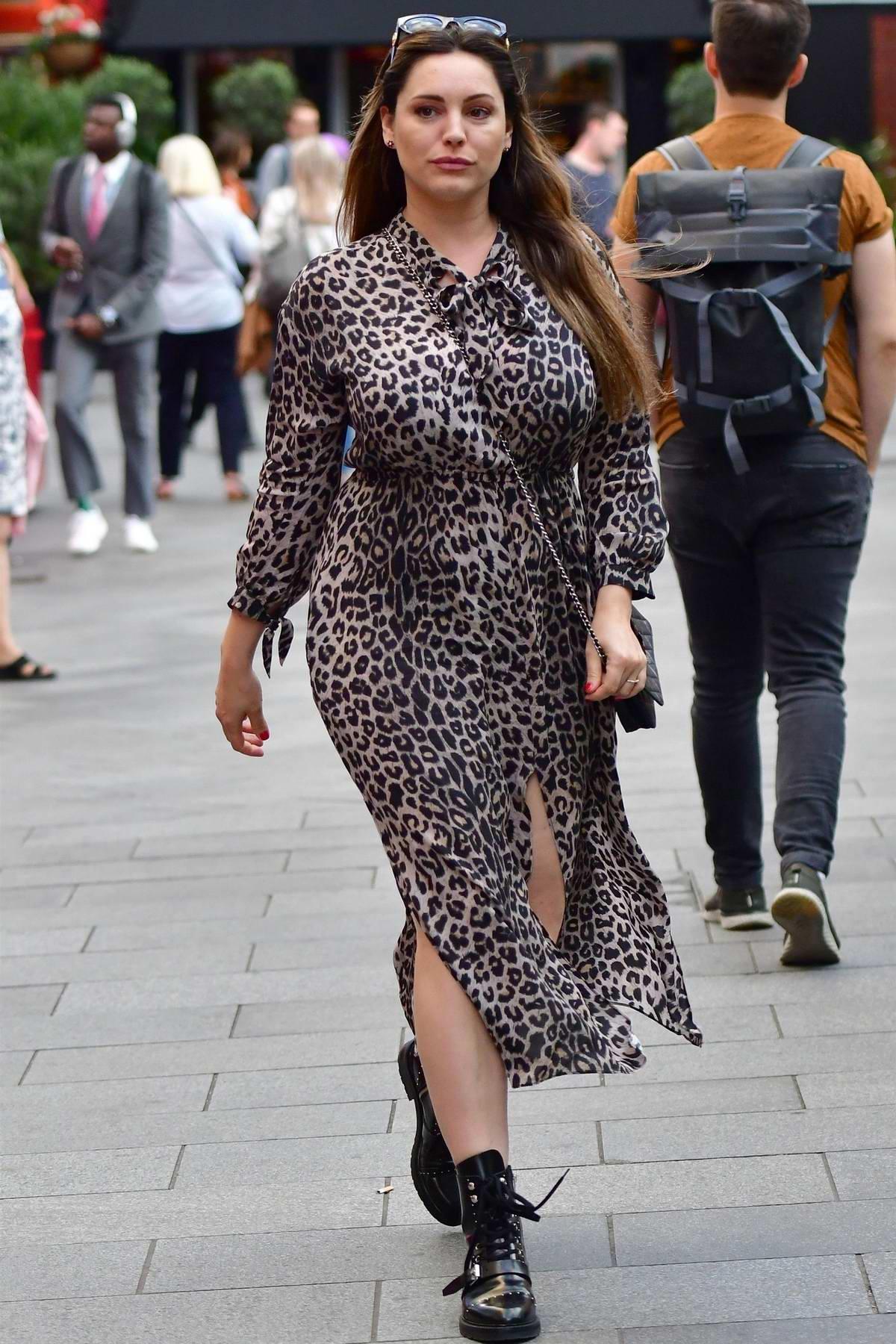 Kelly Brook wears an animal print slit dress as she arrives at Global Radio in London, UK