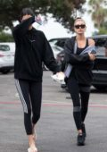 Kendall Jenner and Hailey Baldwin head to a hot pilates class in West Hollywood, Los Angeles