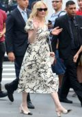 Kirsten Dunst looks cute in a monochrome floral dress as she visits Build Series in New York City