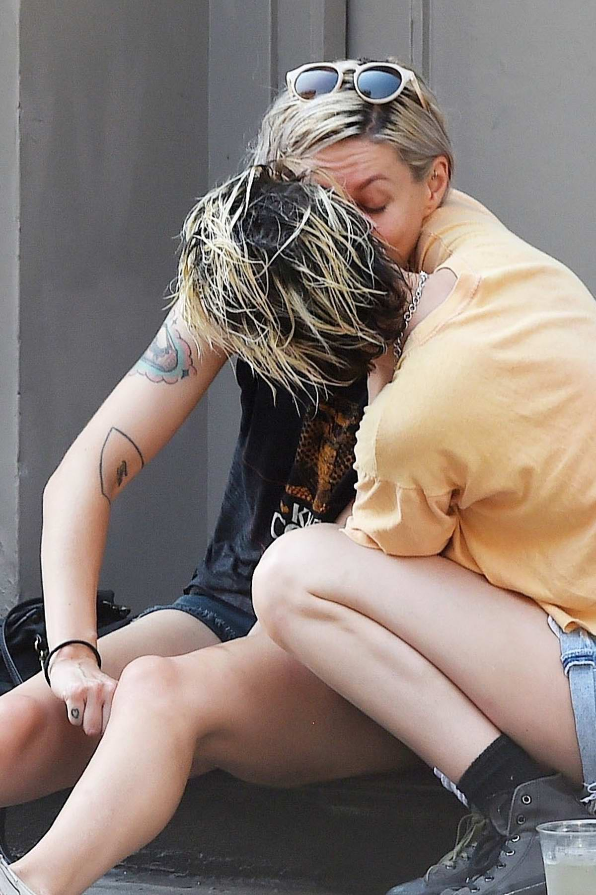 Kristen Stewart steals a kiss from Dylan Meyer while enjoying an afternoon in New York City