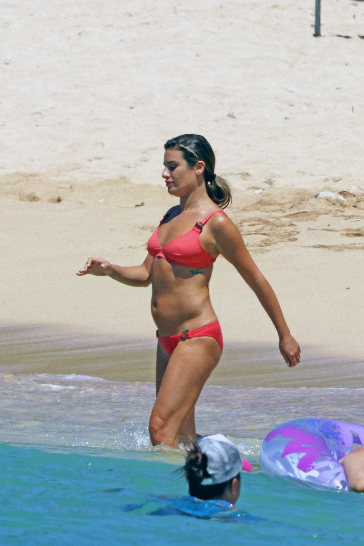 Lea Michele spotted in a hot pink bikini while on the set of 'Same Time Next Christmas' in Hawaii