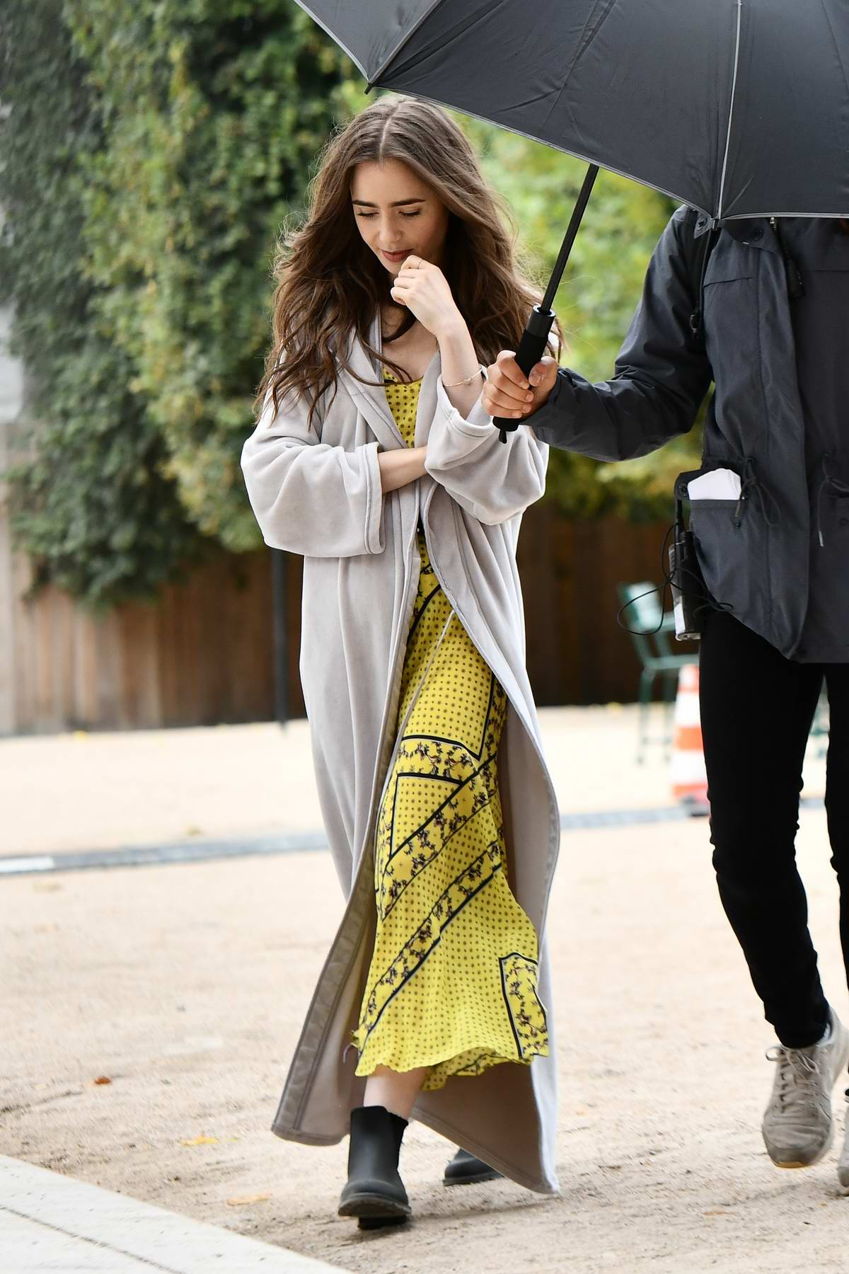 Lily Collins spotted on the set of her new TV show 'Emily in Paris' in Paris, France