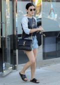 Lucy Hale rocked a 'Star Trek' sweatshirt and denim shorts during a trip to the spa in Los Angeles