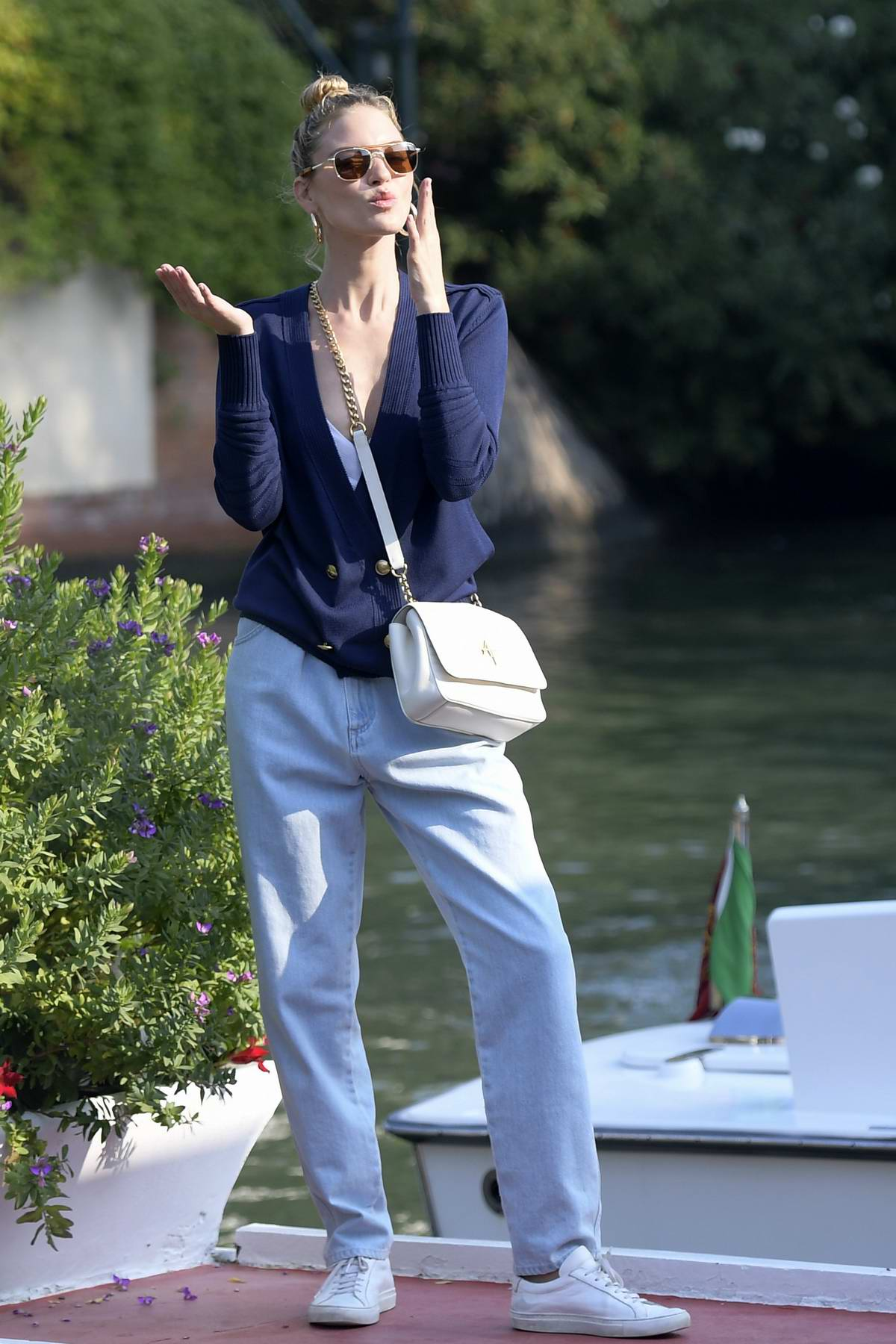 Martha Hunt keeps it casual chic as she leaves The Lido during the 76th Venice Film Festival in Venice, Italy