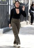 Megan Barton-Hanson wears a plunging black top as she arrives at the 'Celebs Go Dating' office in London, UK
