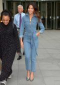 Michelle Keegan seen wearing a denim jumpsuit at BBC Broadcasting House in London, UK