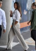 Michelle Keegan waves for the camera as she arrives at BBC studios in Manchester, UK