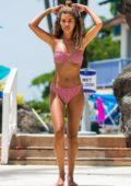 Montana Brown looks great in a bikini while on the beach with her boyfriend in Barbados