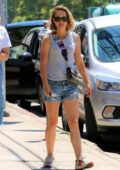Natalie Portman wears a grey top and denim shorts while to lunch near her place in Los Feliz, California