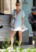 Nicky Hilton looks pretty in a light blue dress during a shopping trip to Barneys New York in Beverly Hills, Los Angeles