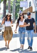 Nikki and Brie Bella step out for some shopping and lunch with Artem Chigvintsev in Los Angeles