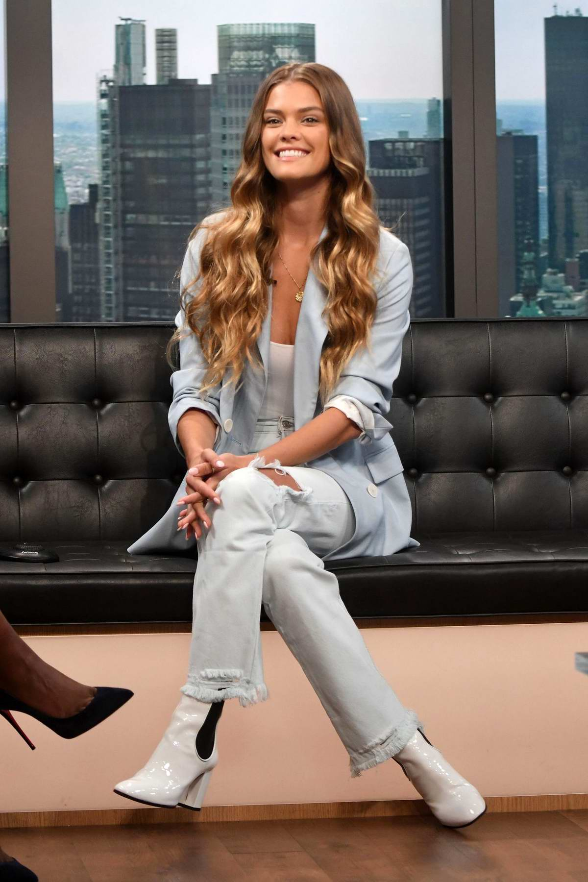 Nina Agdal promotes Pura Still Spiked Water on 'Good Day New York' at Fox 5 in New York City