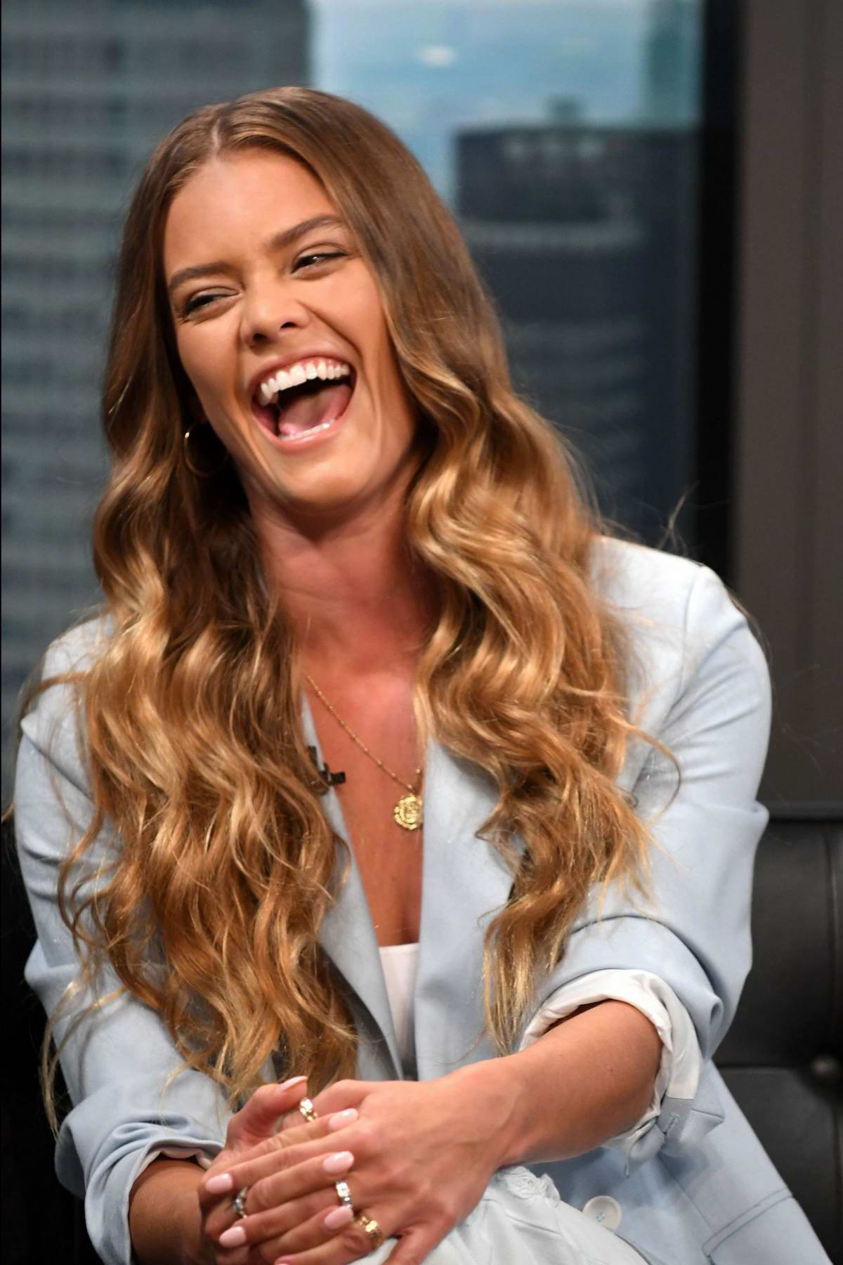 nina agdal promotes pura still spiked water on 'good day new