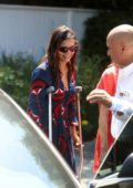 Nina Dobrev seen on crutches as she leaves the InStyle Day of indulgence Party in Brentwood, Los Angeles