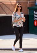 Nina Dobrev spotted in a floral print top as she makes a quick coffee run in Manhattan, New York City