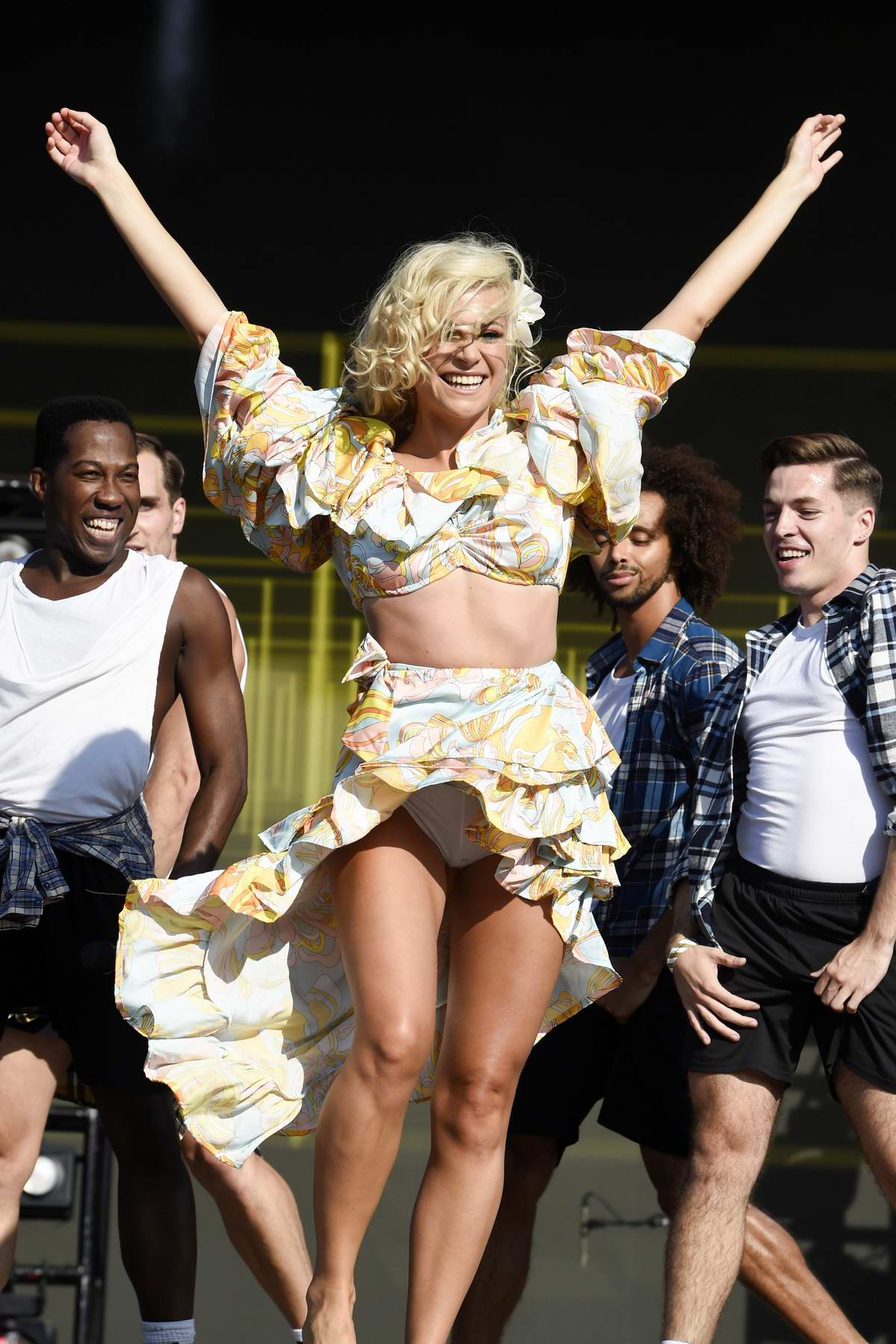 Pixie Lott performs on stage at 2019 Manchester Pride Festival in Manchester, UK