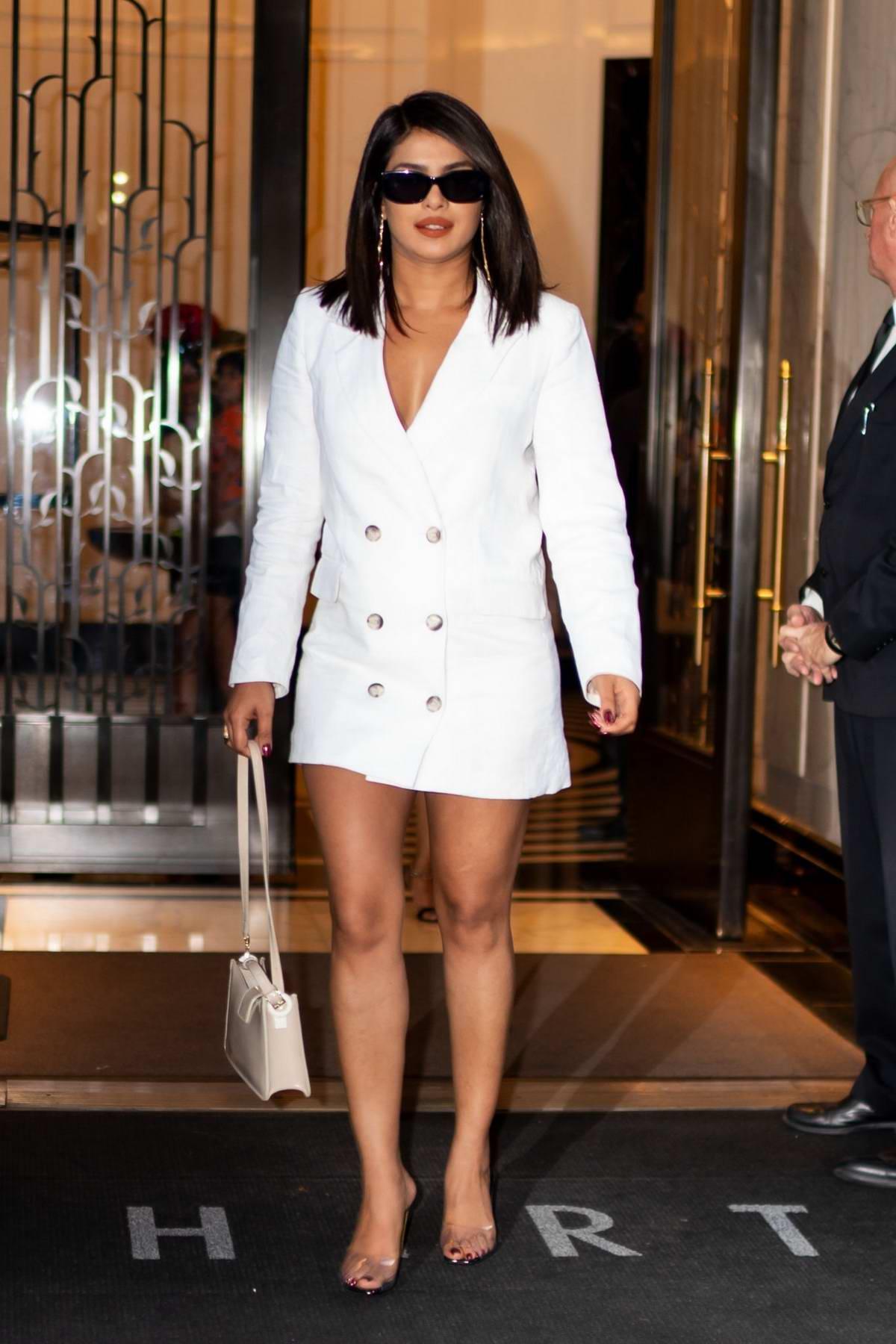 Priyanka Chopra keeps it business casual as she steps in a white blazer dress in Tribeca, New York City