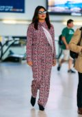 Priyanka Chopra touches down at JFK wearing a patterned jumpsuit in New York City