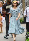 Rachel Brosnahan seen while filming Season 3 'The Marvelous Mrs. Maisel' in New York City