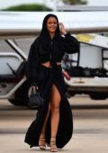 Rihanna looks stunning in all-black ensemble as she touches down in Barbados