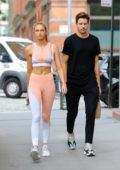 Romee Strijd looked flawless in a blush colored workout gear after a workout session in New York City