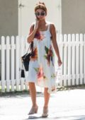 Sarah Hyland wears a floral summer dress while out for lunch in Studio City, Los Angeles