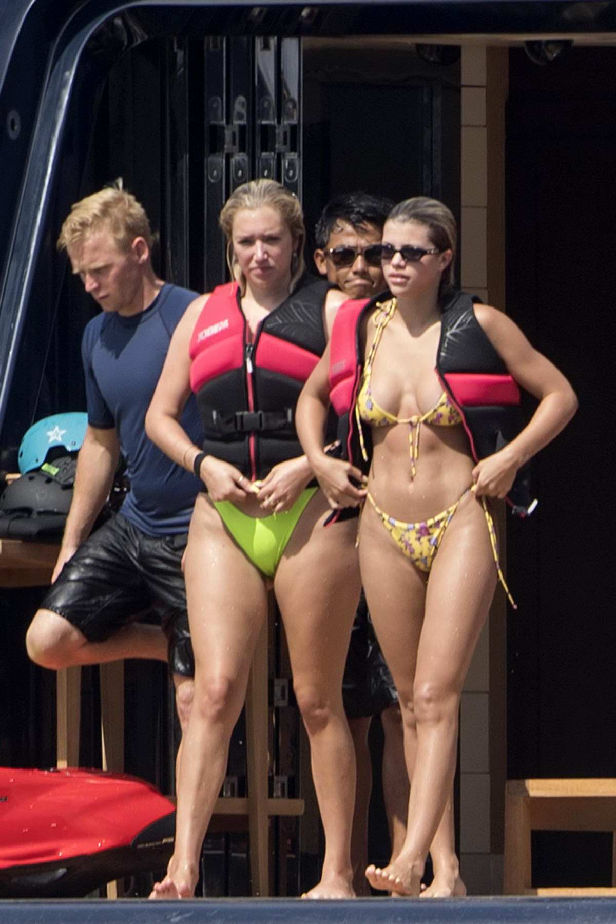 Sofia Richie shows off her bikini body on a yacht while on holiday with friends in Positano, Italy