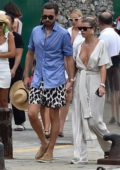 Sofia Richie wears a white polka dot jumpsuit as she enjoys a day with Scott Disck in Portofino, Italy