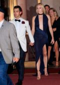 Sophie Turner looks stunning in a blue dress as she and Joe Jonas arrives at Cipriani Wall Street in New York City