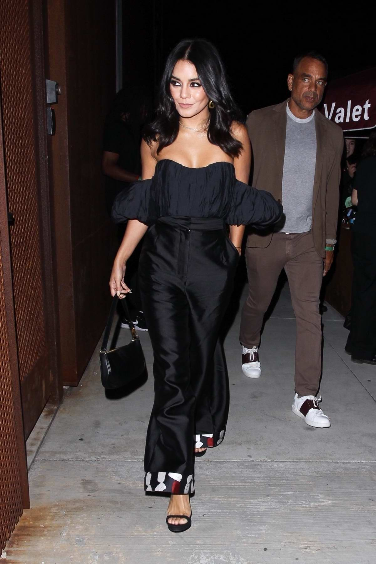 Vanessa Hudgens Looks fabulous in black as she stops by the Weedmaps Museum of Weed in Hollywood, California