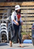Vanessa Hudgens looks great in her workout clothes as she steps out for lunch in Los Feliz, California