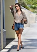 Alessandra Ambrosio looks fab in denim shorts while out for lunch with a friend in Santa Monica, California