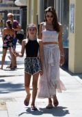 Alessandra Ambrosio steps out with her daughter and Nicolo Oddi for lunch at Tocaya Organica in Santa Monica, California
