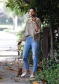 Alessandra Ambrosio takes her dog for a morning walk in Brentwood, Los Angeles