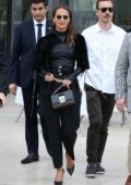 Alicia Vikander looks stylish in an all-black ensemble as she stepped out with Michael Fassbender in Paris, France