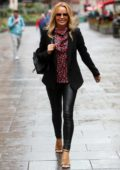 Amanda Holden rocks black skin-tight leather pants as she arrives at Global Radio studios in London, UK