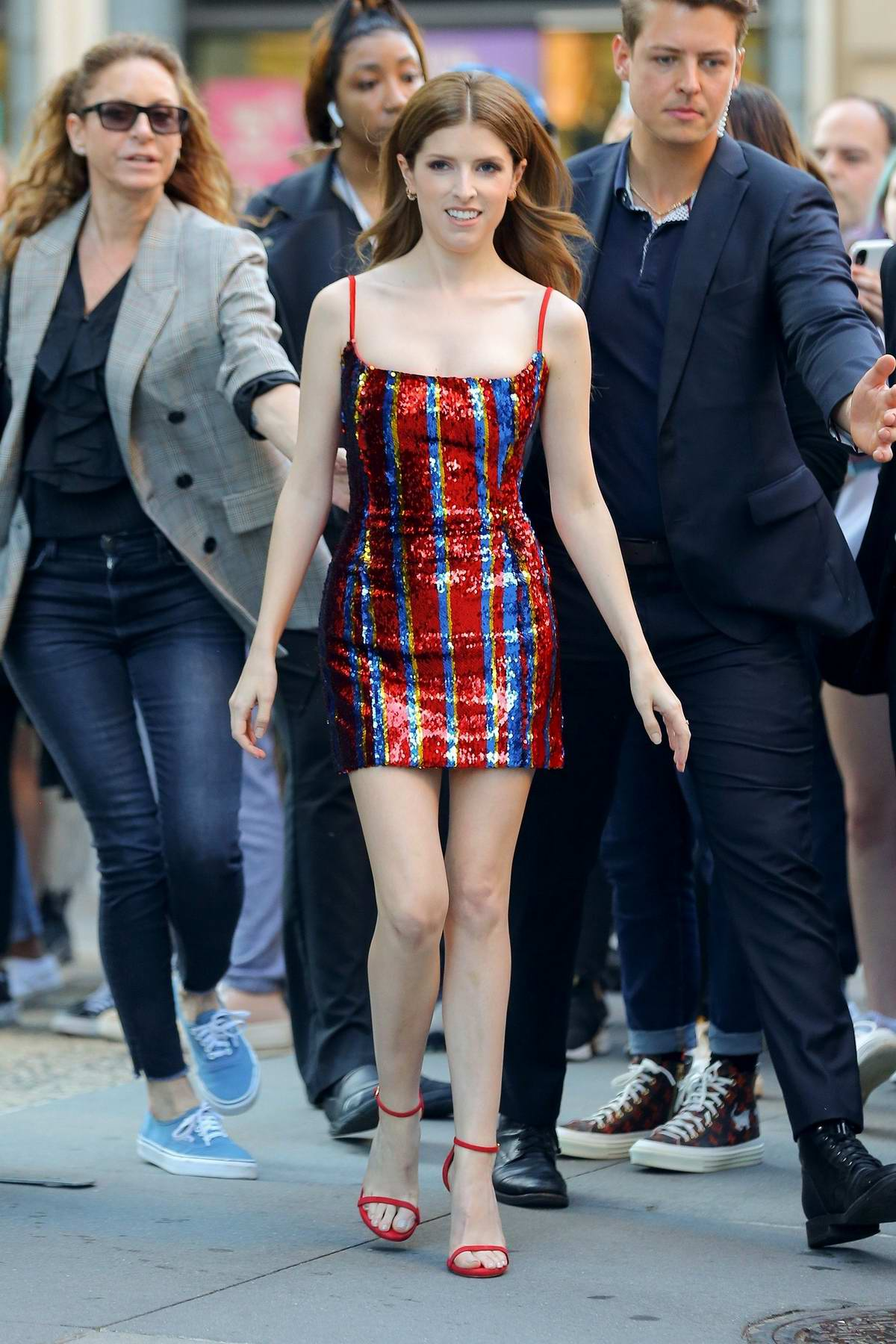Anna Kendrick dazzles in a sequined mini dress while visiting AOL Build Studios in New York City