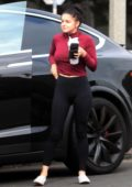 Ariel Winter looks great in a maroon crop top and black leggings as she hits the gym in Beverly Hills, Los Angeles