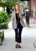 Ashley Benson seen wearing a grey blazer as she steps out for a stroll in New York City