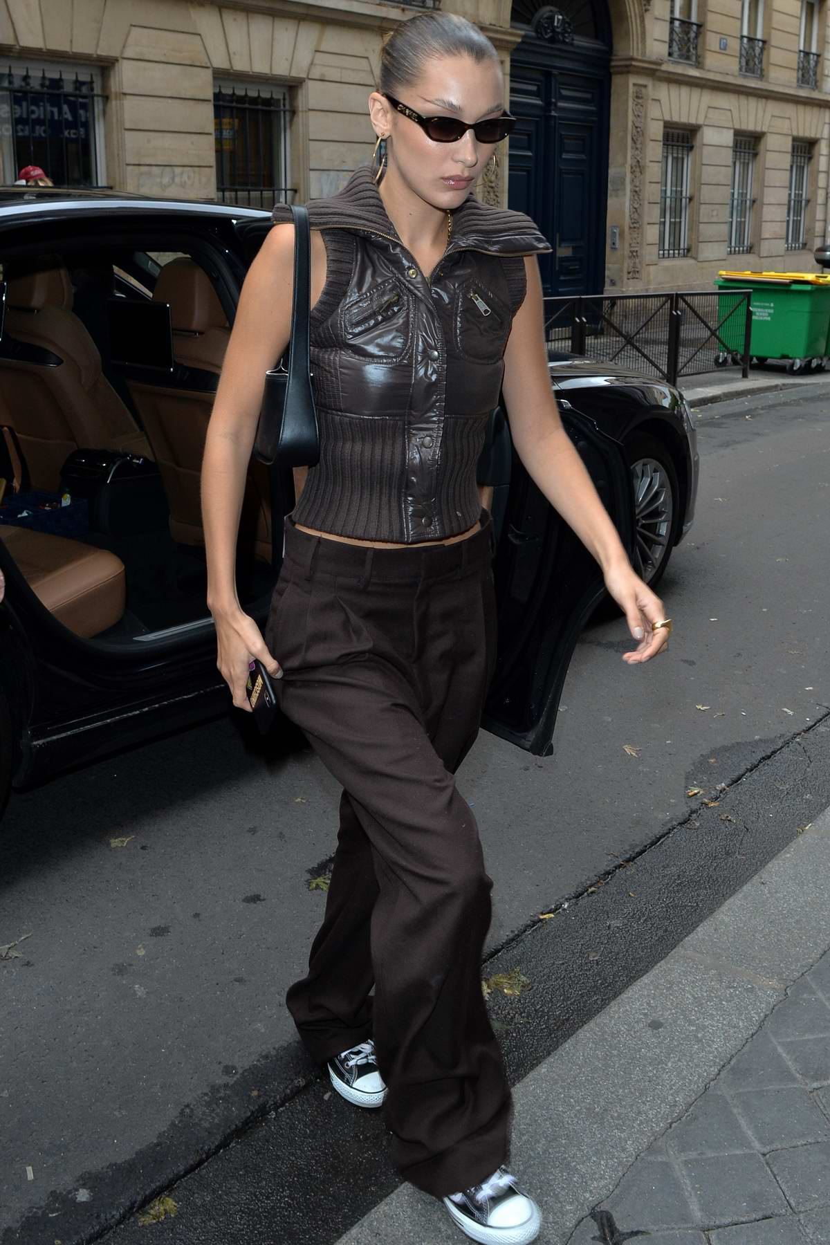 Bella Hadid looks stylish in all-brown ensemble while out during Paris Fashion Week in Paris, France