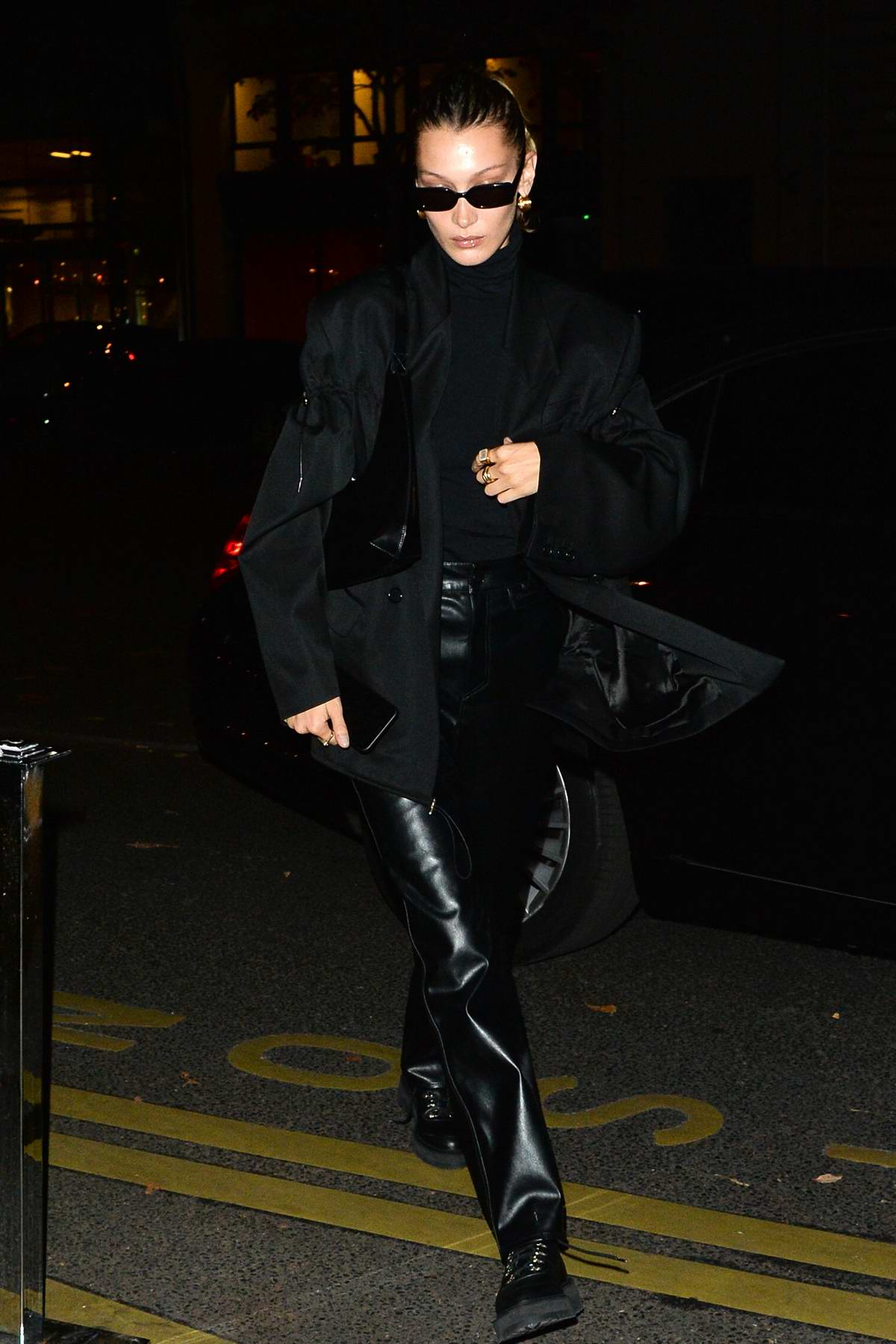 Bella Hadid steps out in all black ensemble in Paris, France