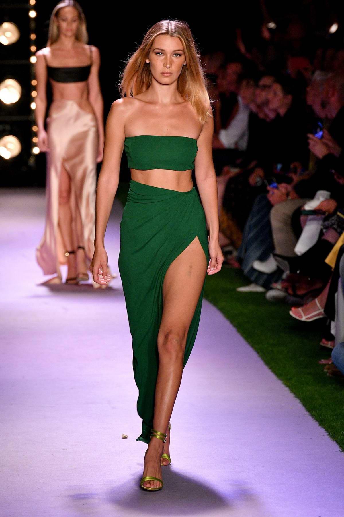 Bella Hadid walks the runway for Brandon Maxwell during New York Fashion Week in New York City