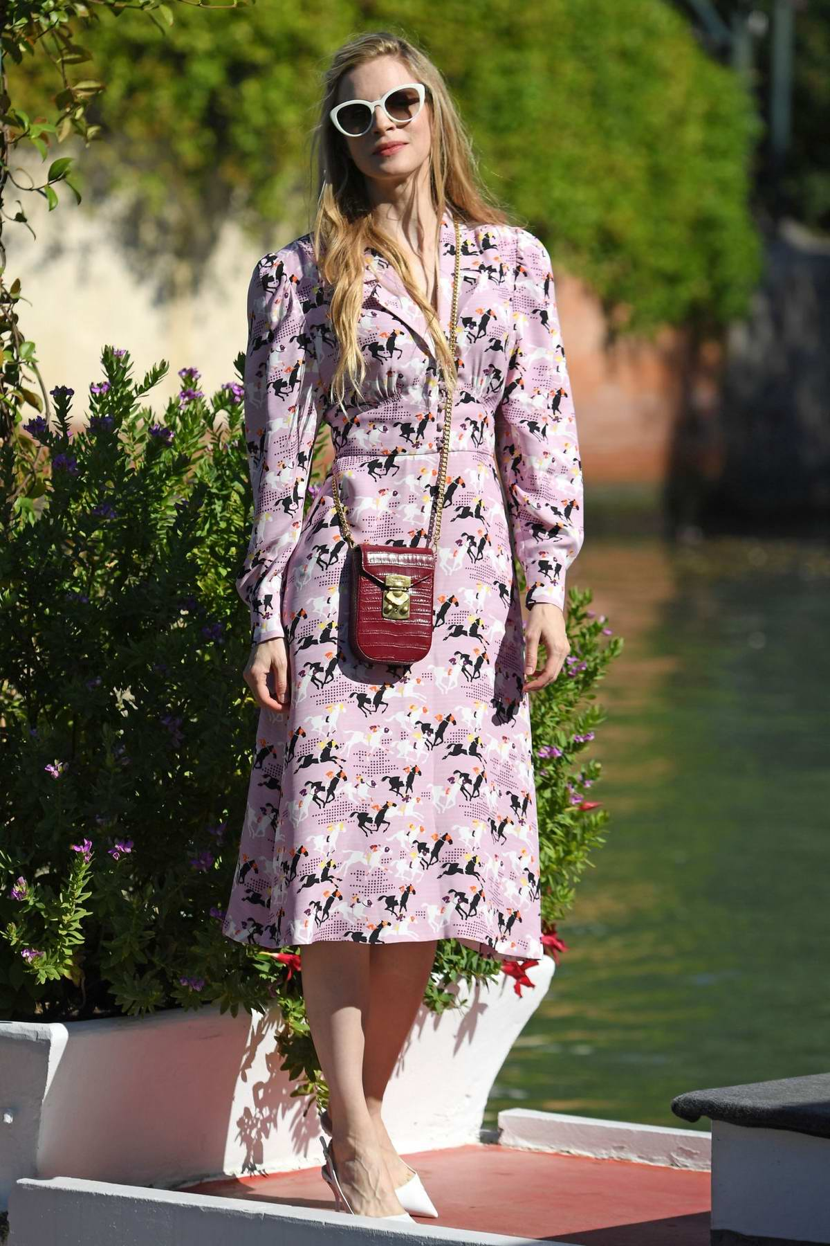 Brit Marling steps out donning a floral print dress during the 76th Venice Film Festival in Venice, Italy