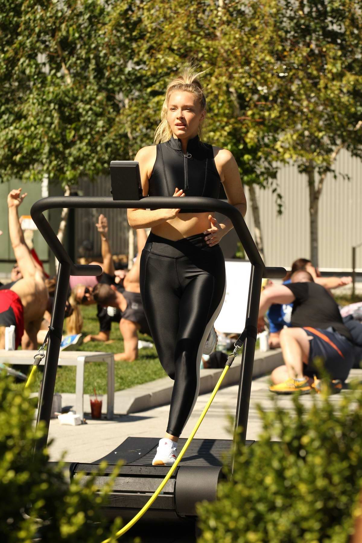 Camille Kostek and Rob Gronkowski lead a workout session for Gronk Nation Fitness in Boston, Massachusetts