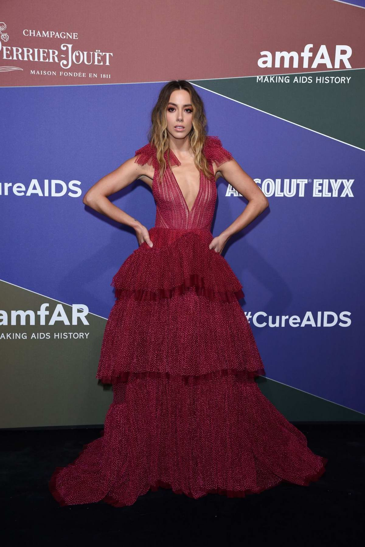 Chloe Bennet attends the amfAR Gala Milano 2019 at Palazzo Mezzanotte in Milan, Italy